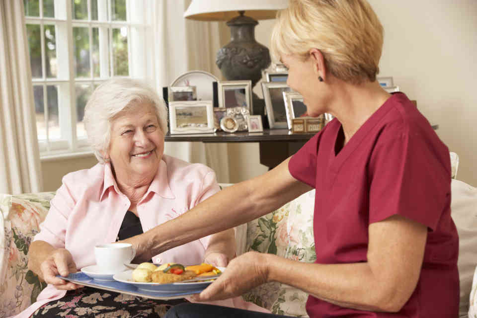 Elderly woman having meal served to her by home care nurse